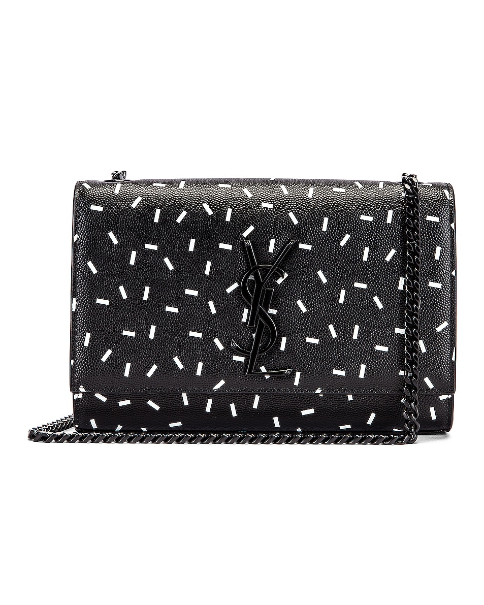 Image 1 of Saint Laurent Small Kate Chain Monogramme Bag in Black & White