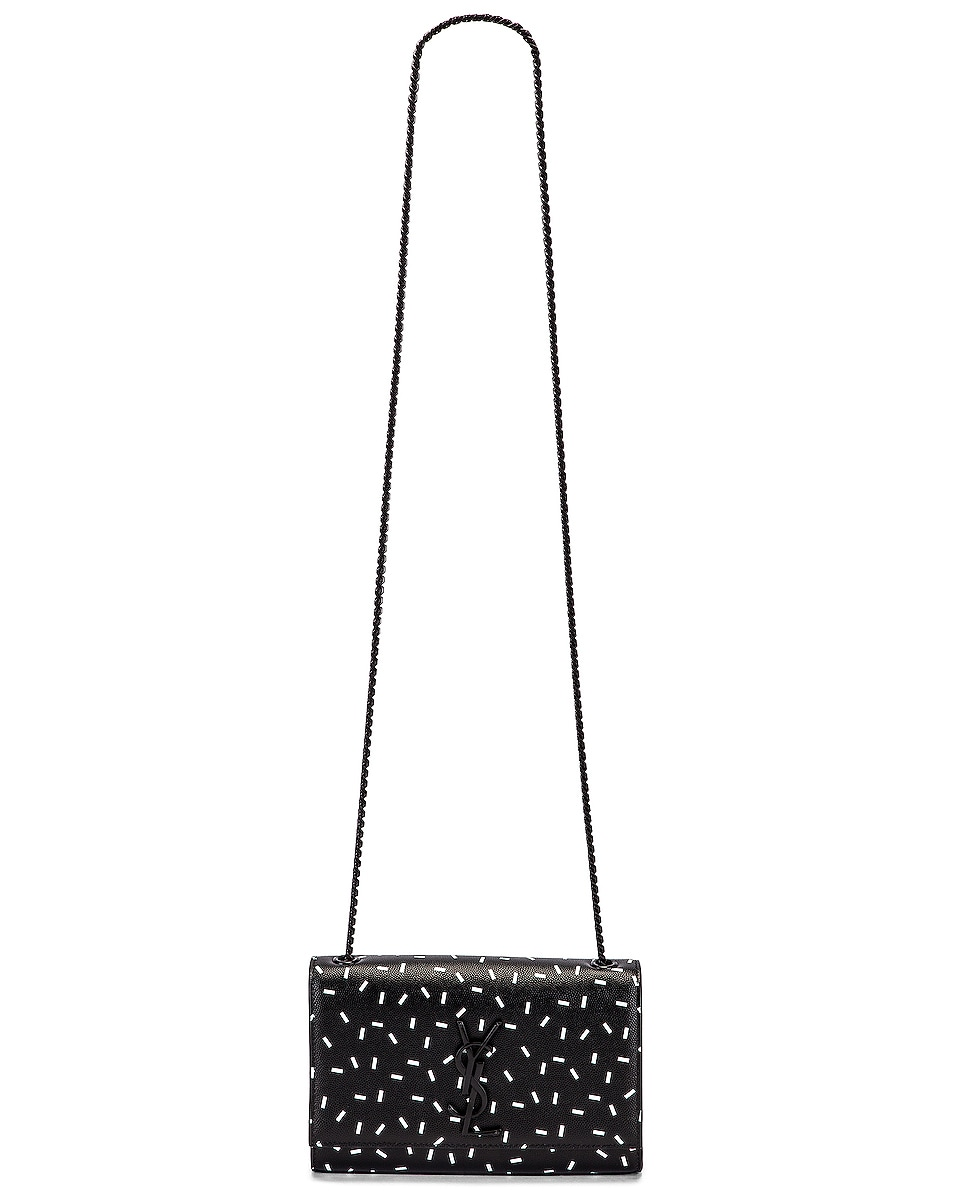 Image 6 of Saint Laurent Small Kate Chain Monogramme Bag in Black & White