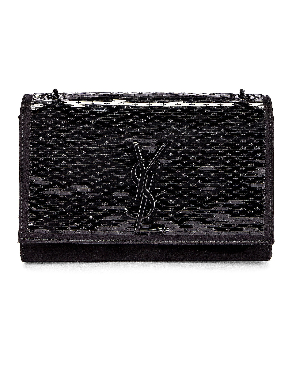 Image 1 of Saint Laurent Small Kate Chain Monogramme Bag in Black & Black