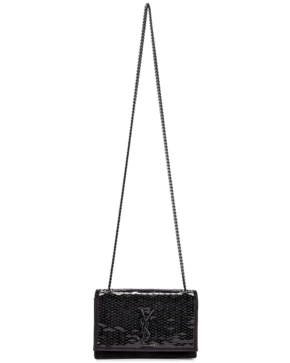 Image 3 of Saint Laurent Small Kate Chain Monogramme Bag in Black & Black