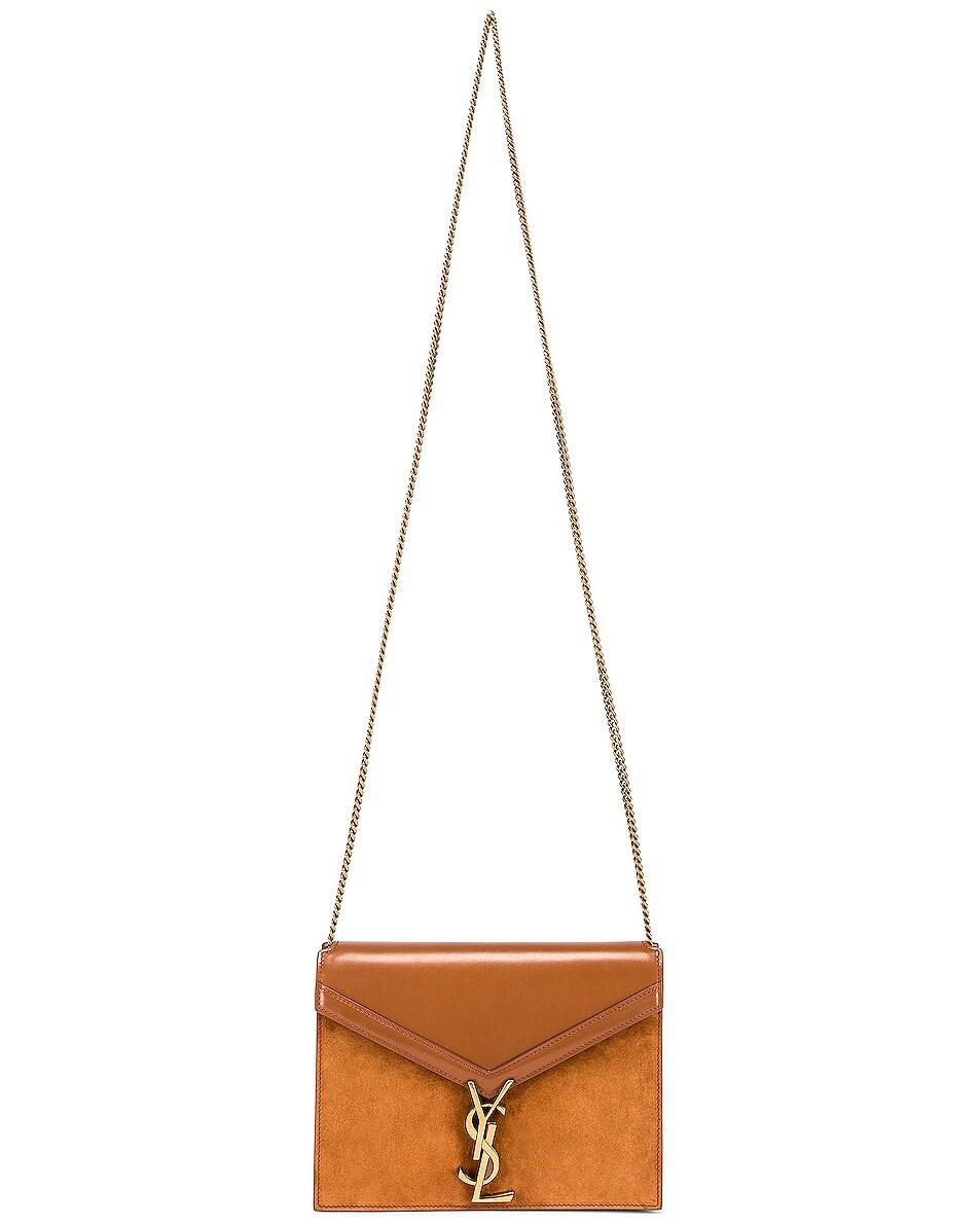 Image 2 of Saint Laurent Medium Cassandra Chain Monogramme Bag in Brick & Dark Ebony