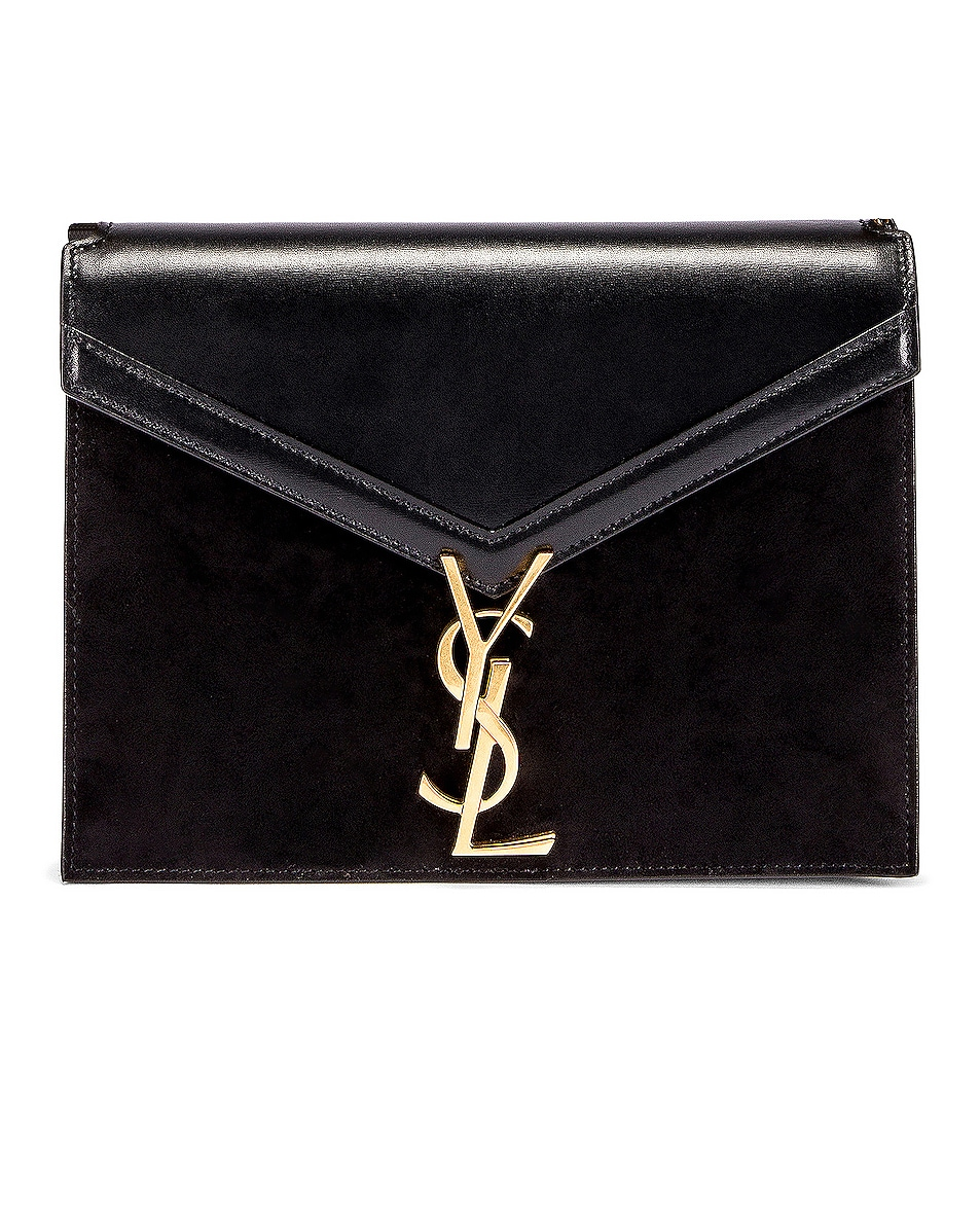 Image 1 of Saint Laurent Medium Cassandra Chain Monogramme Bag in Black & Rouge Legion