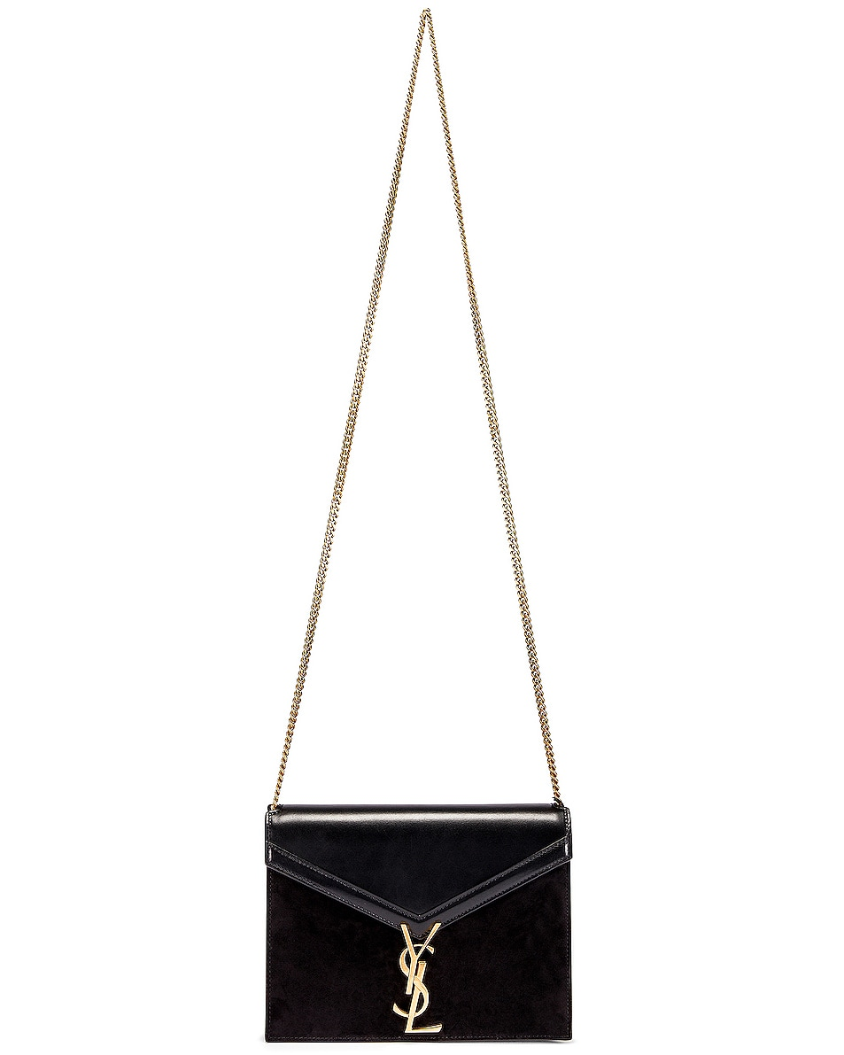 Image 2 of Saint Laurent Medium Cassandra Chain Monogramme Bag in Black & Rouge Legion