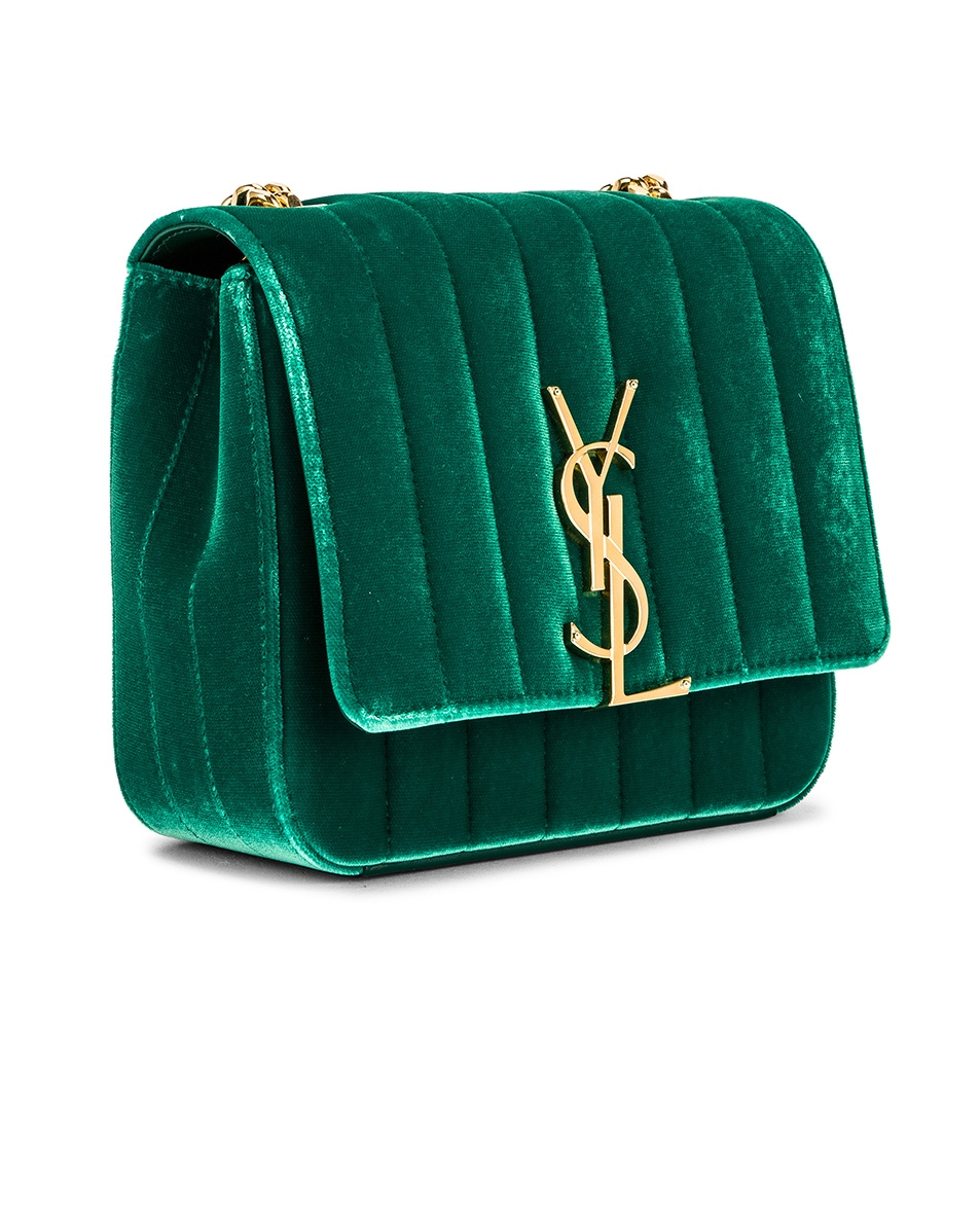 Image 4 of Saint Laurent Small Vicky Chain Bag in Deep Malachite