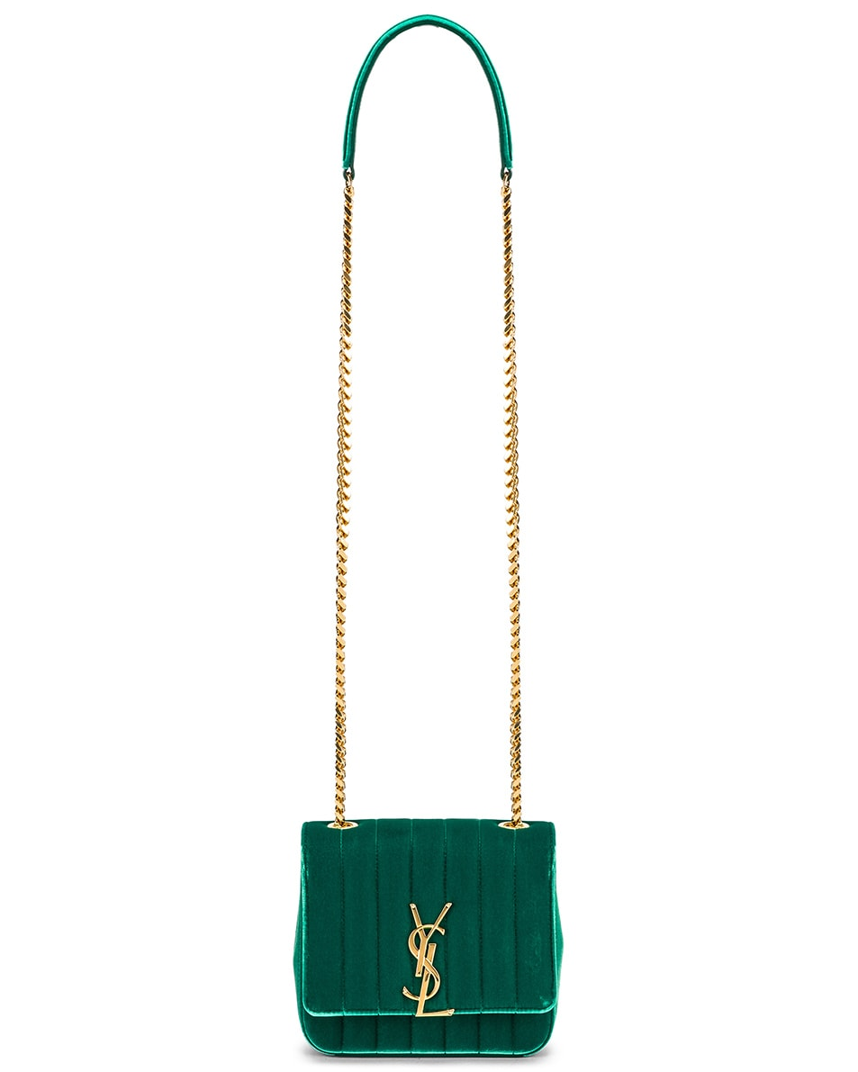 Image 6 of Saint Laurent Small Vicky Chain Bag in Deep Malachite