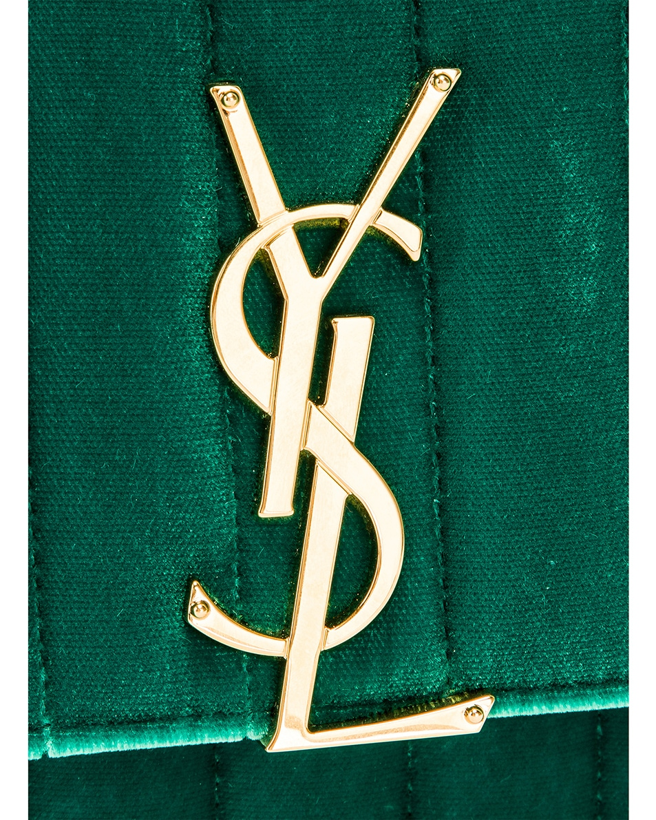 Image 8 of Saint Laurent Small Vicky Chain Bag in Deep Malachite