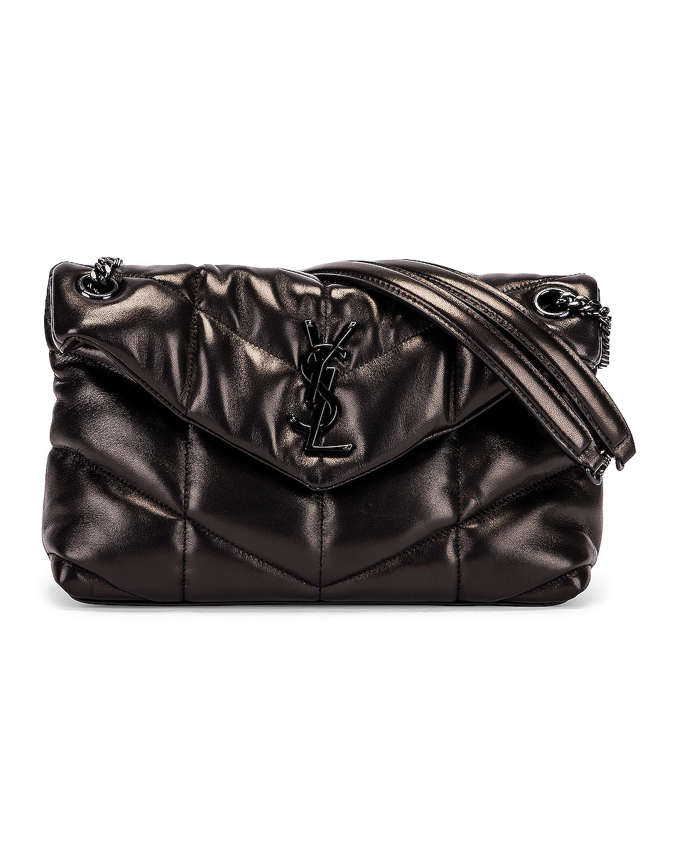 Image 1 of Saint Laurent Small Loulou Puffer Chain Bag in Black