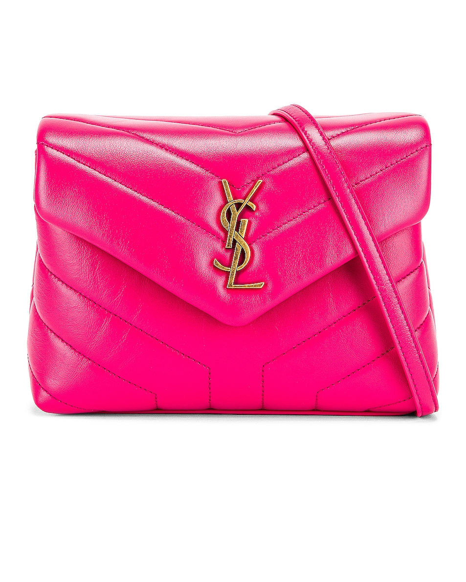 Image 1 of Saint Laurent Toy Supple Monogramme Loulou Strap Bag in Fresh Fuchsia