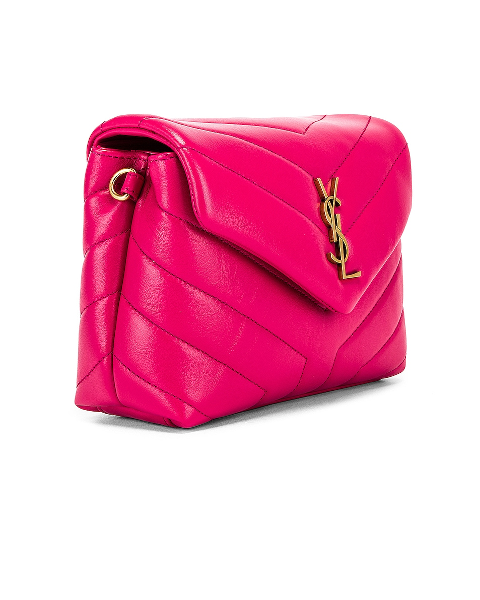 Image 3 of Saint Laurent Toy Supple Monogramme Loulou Strap Bag in Fresh Fuchsia