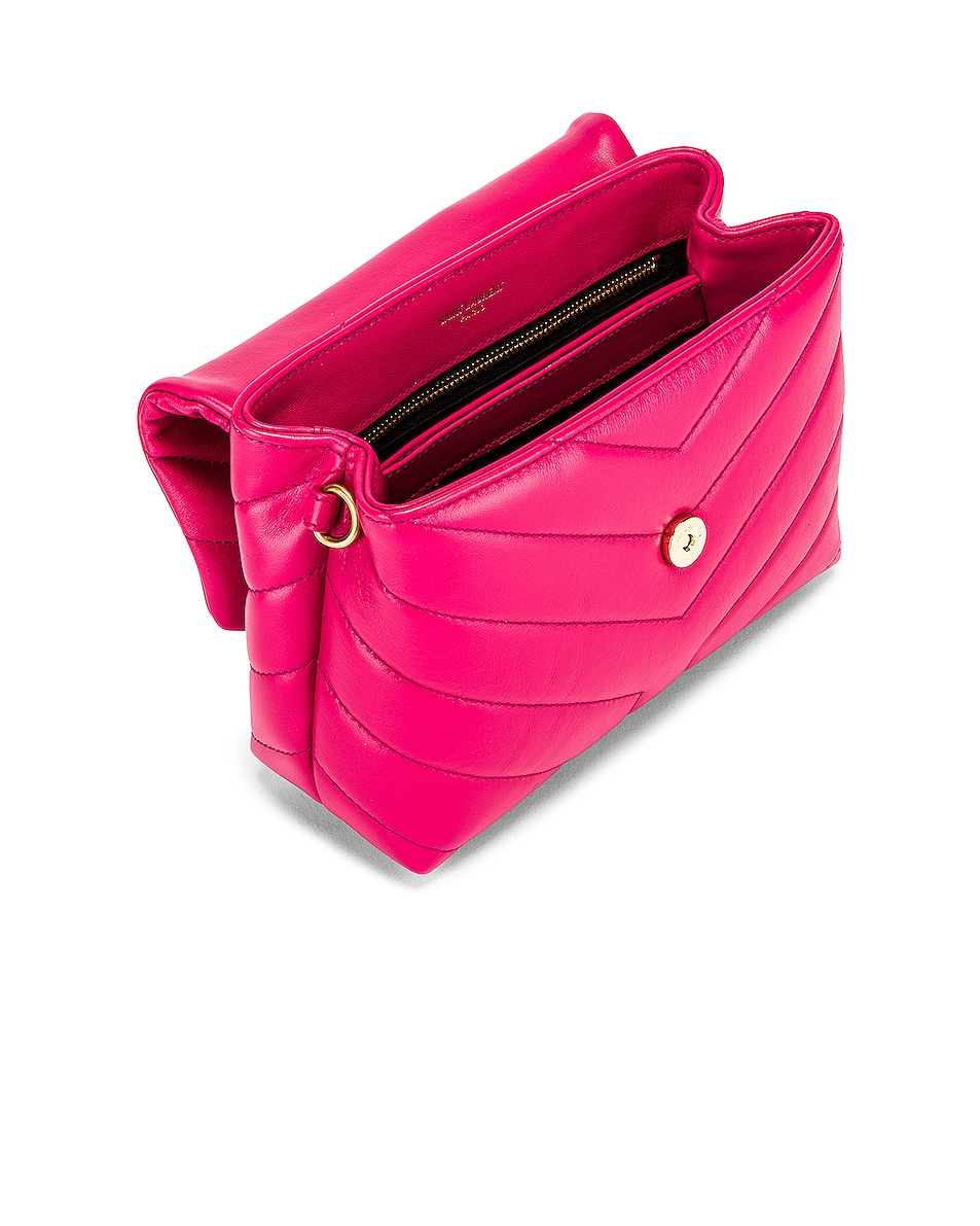 Image 4 of Saint Laurent Toy Supple Monogramme Loulou Strap Bag in Fresh Fuchsia