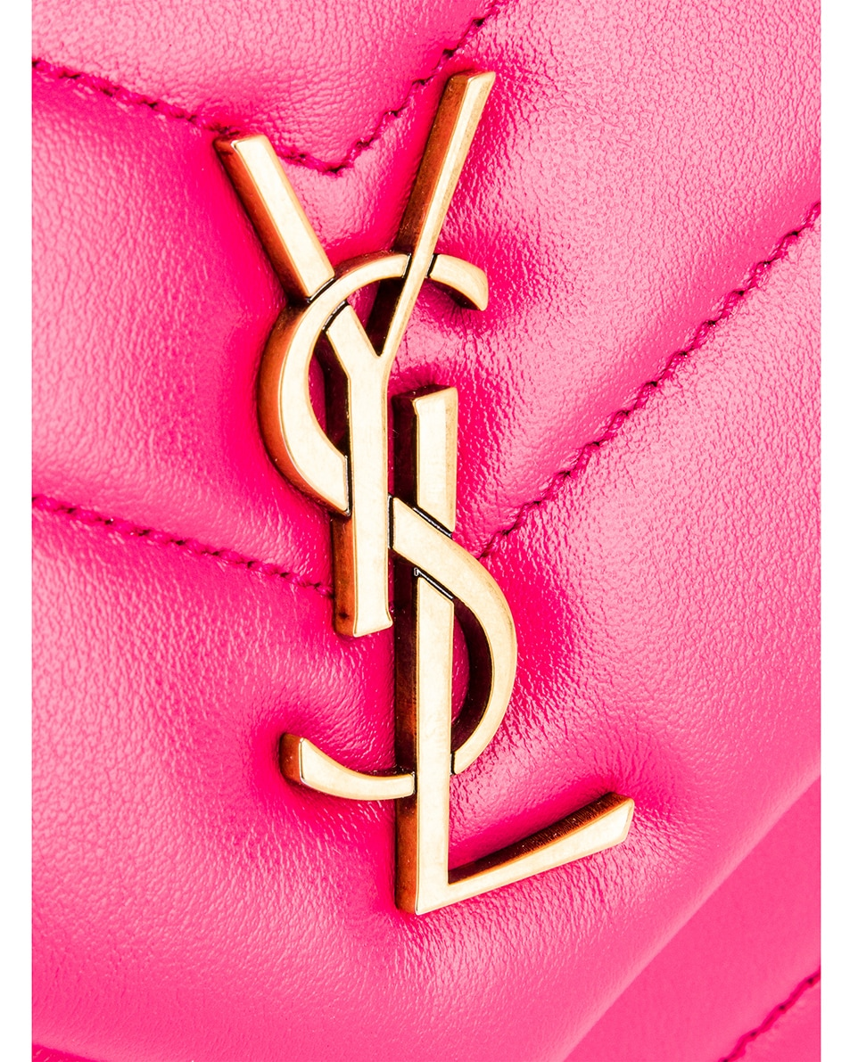 Image 8 of Saint Laurent Toy Supple Monogramme Loulou Strap Bag in Fresh Fuchsia