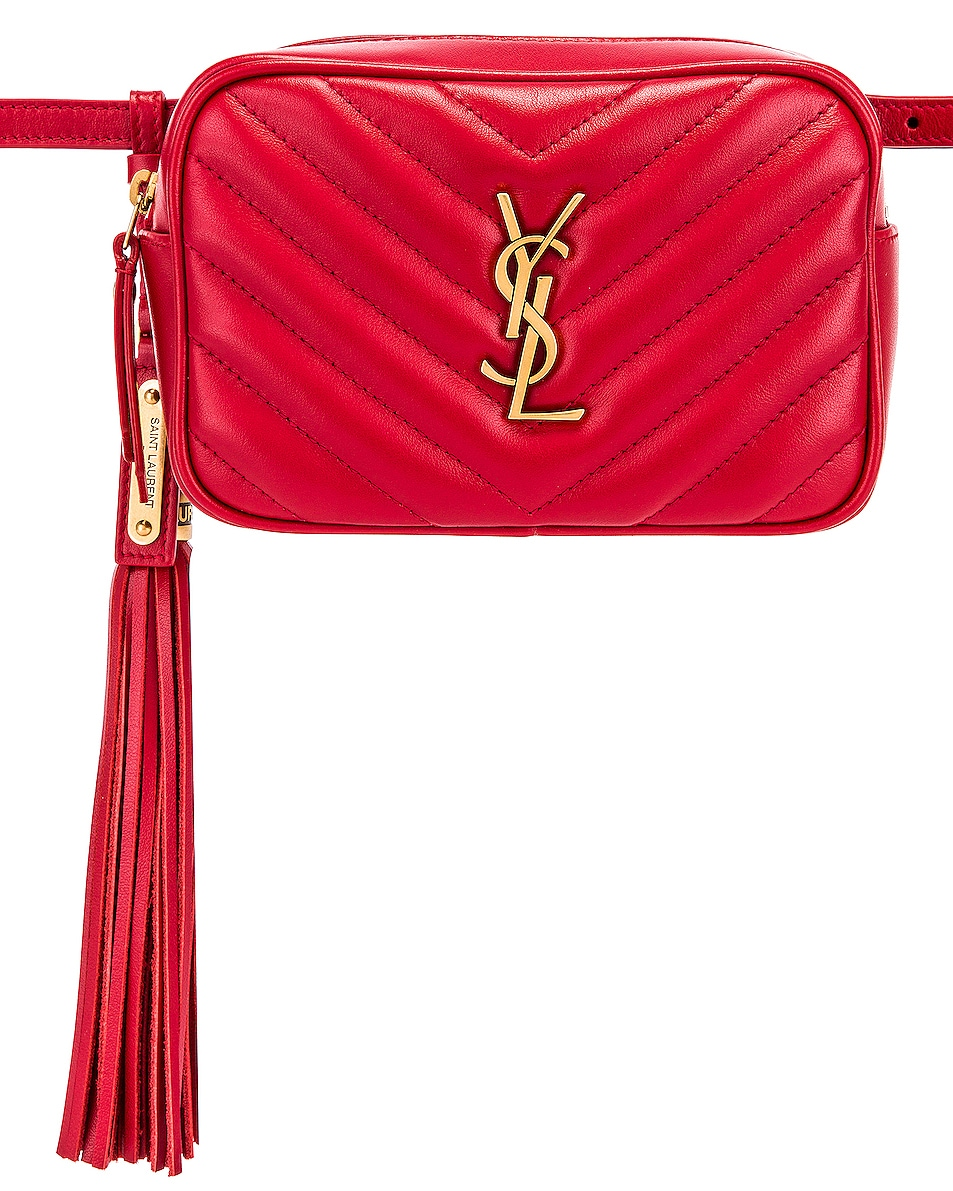 Image 1 of Saint Laurent Lou Hip Belt with Pouch in Rouge Eros