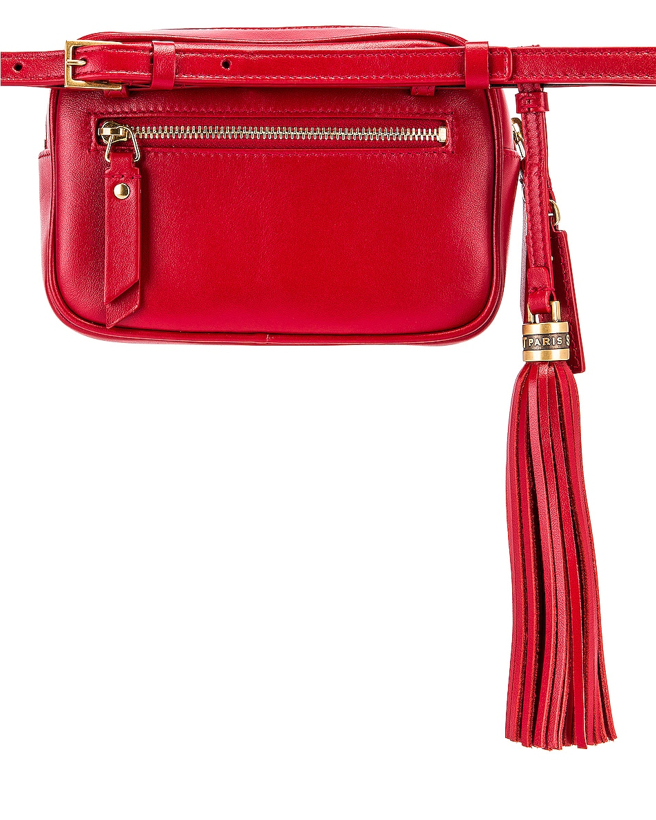 Image 2 of Saint Laurent Lou Hip Belt with Pouch in Rouge Eros