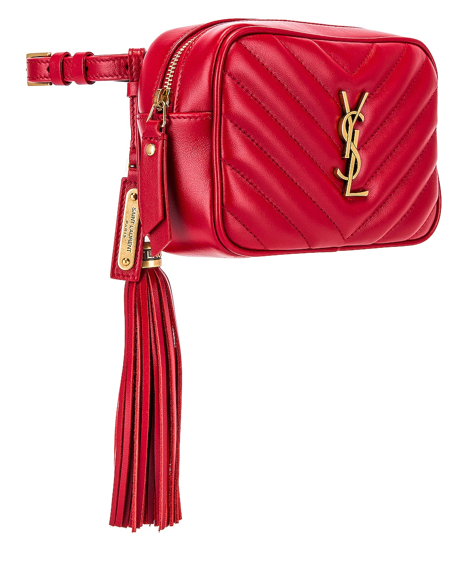 Image 3 of Saint Laurent Lou Hip Belt with Pouch in Rouge Eros
