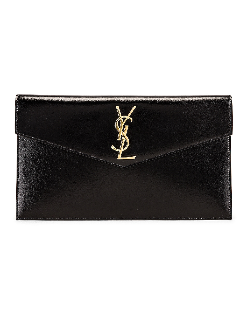 Image 1 of Saint Laurent Uptown Monogramme Medium Envelope Pouch in Black