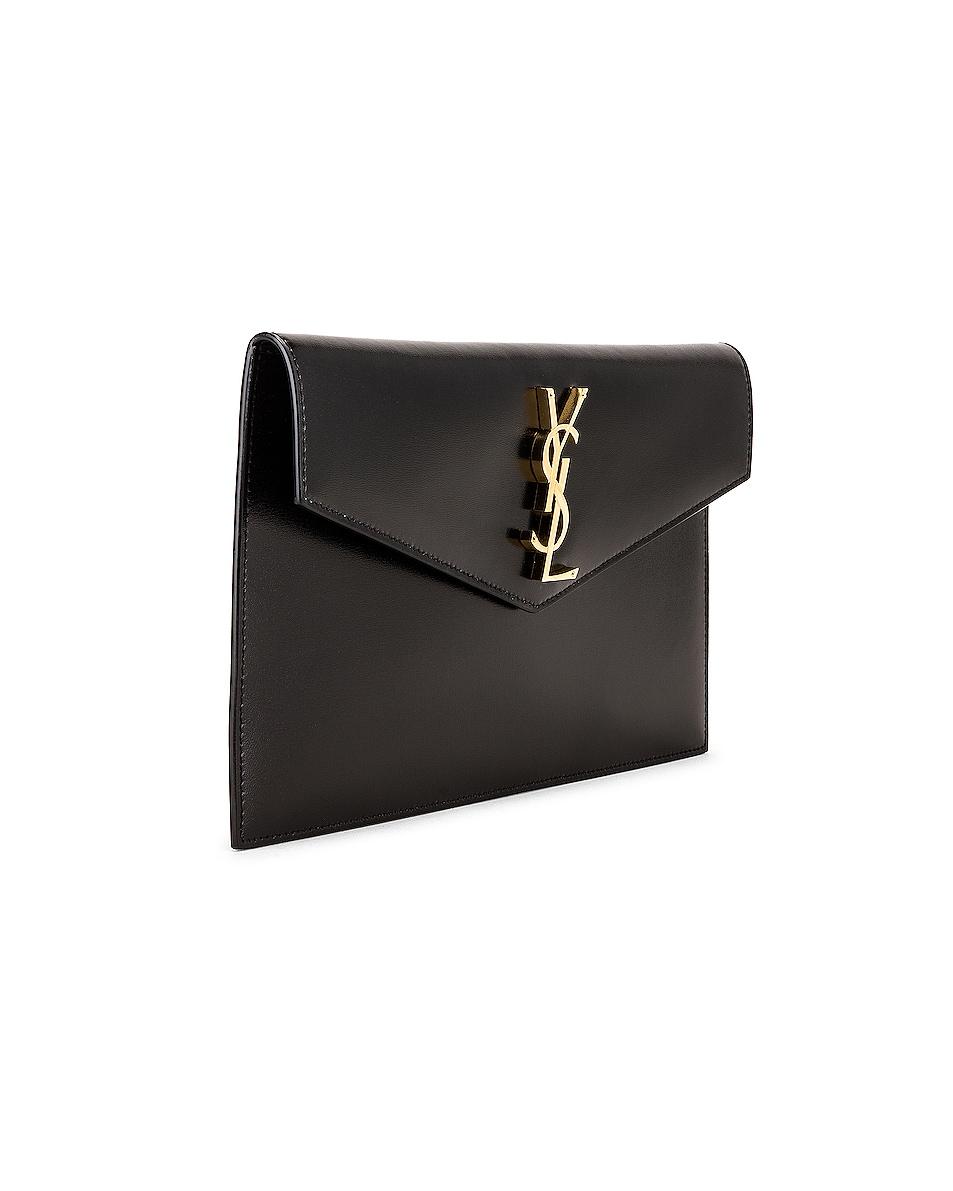 Image 3 of Saint Laurent Uptown Monogramme Medium Envelope Pouch in Black