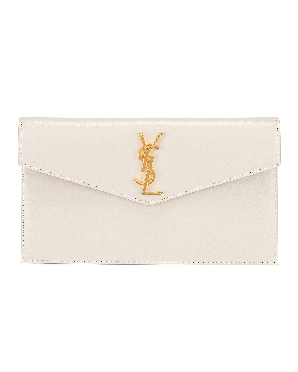 Image 1 of Saint Laurent Uptown Monogramme Medium Envelope Pouch in Crema Soft