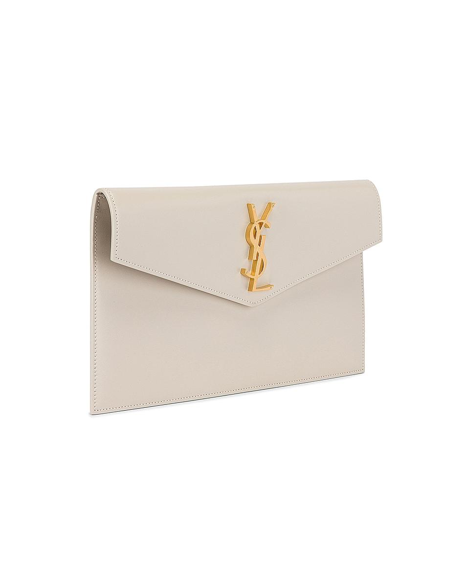 Image 4 of Saint Laurent Uptown Monogramme Medium Envelope Pouch in Crema Soft