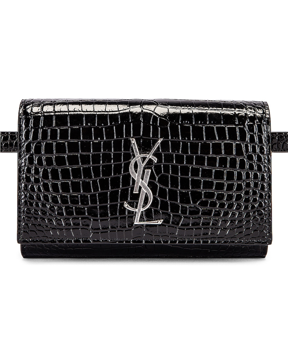 Image 1 of Saint Laurent Croc Belt Bag in Black