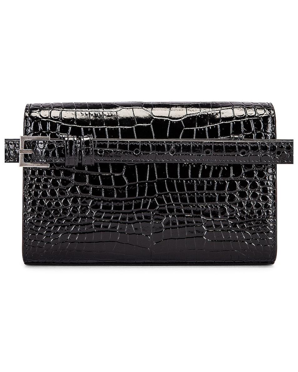 Image 2 of Saint Laurent Croc Belt Bag in Black