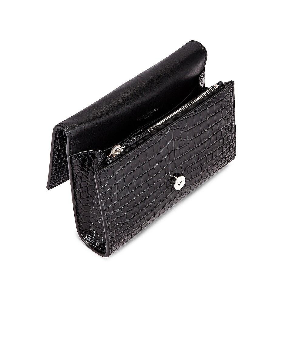 Image 4 of Saint Laurent Croc Belt Bag in Black
