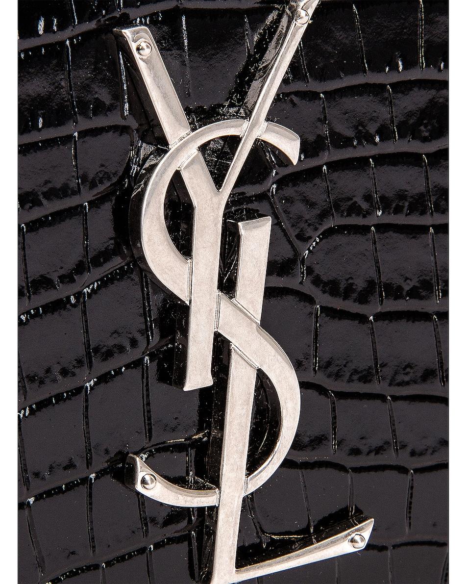 Image 6 of Saint Laurent Croc Belt Bag in Black