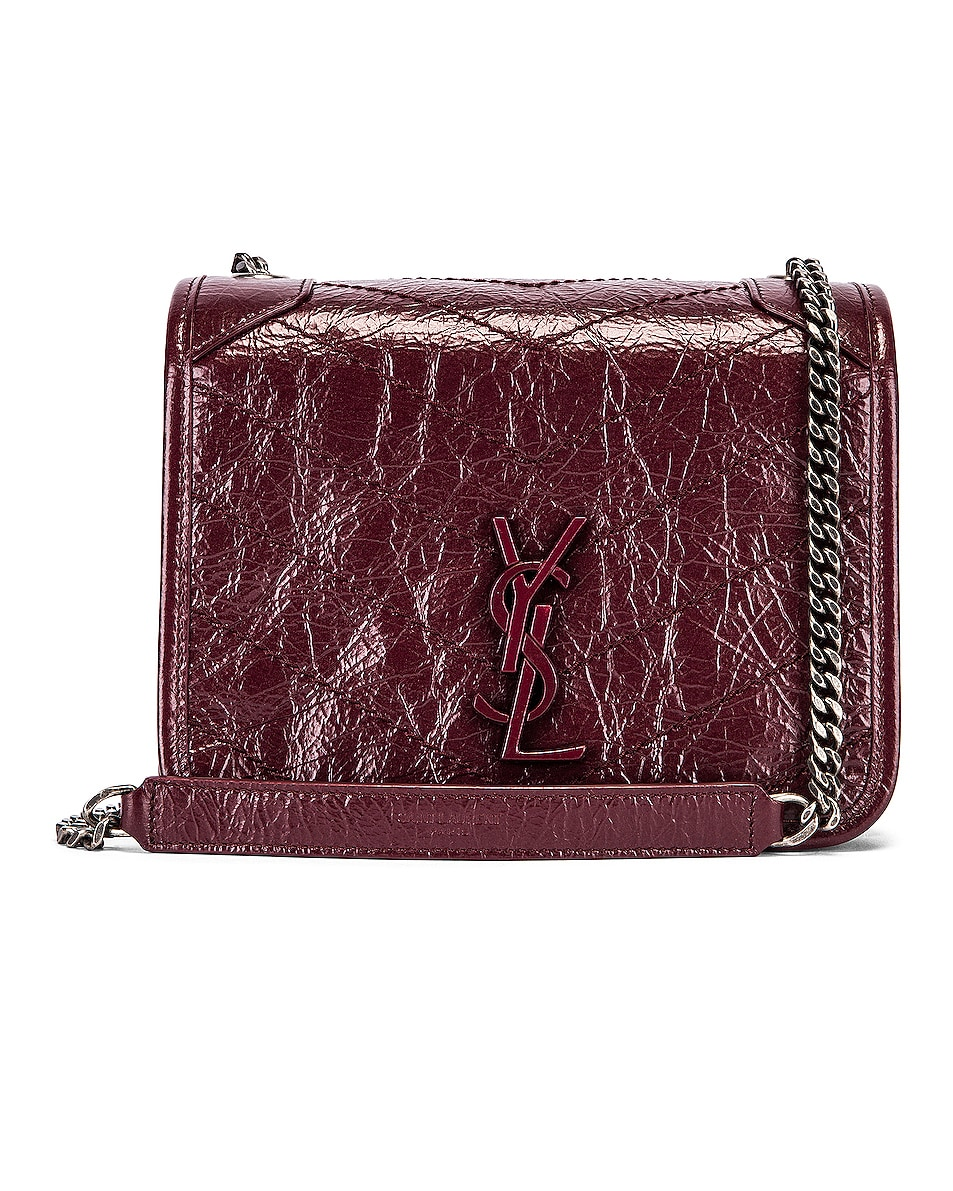 Image 1 of Saint Laurent Niki Wallet Chain Bag in Rouge Legion