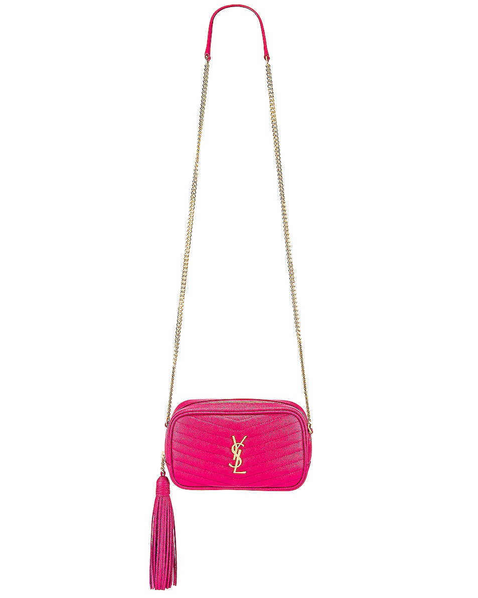 Image 2 of Saint Laurent Mini Lou Monogramme Bag in Fresh Fuchsia