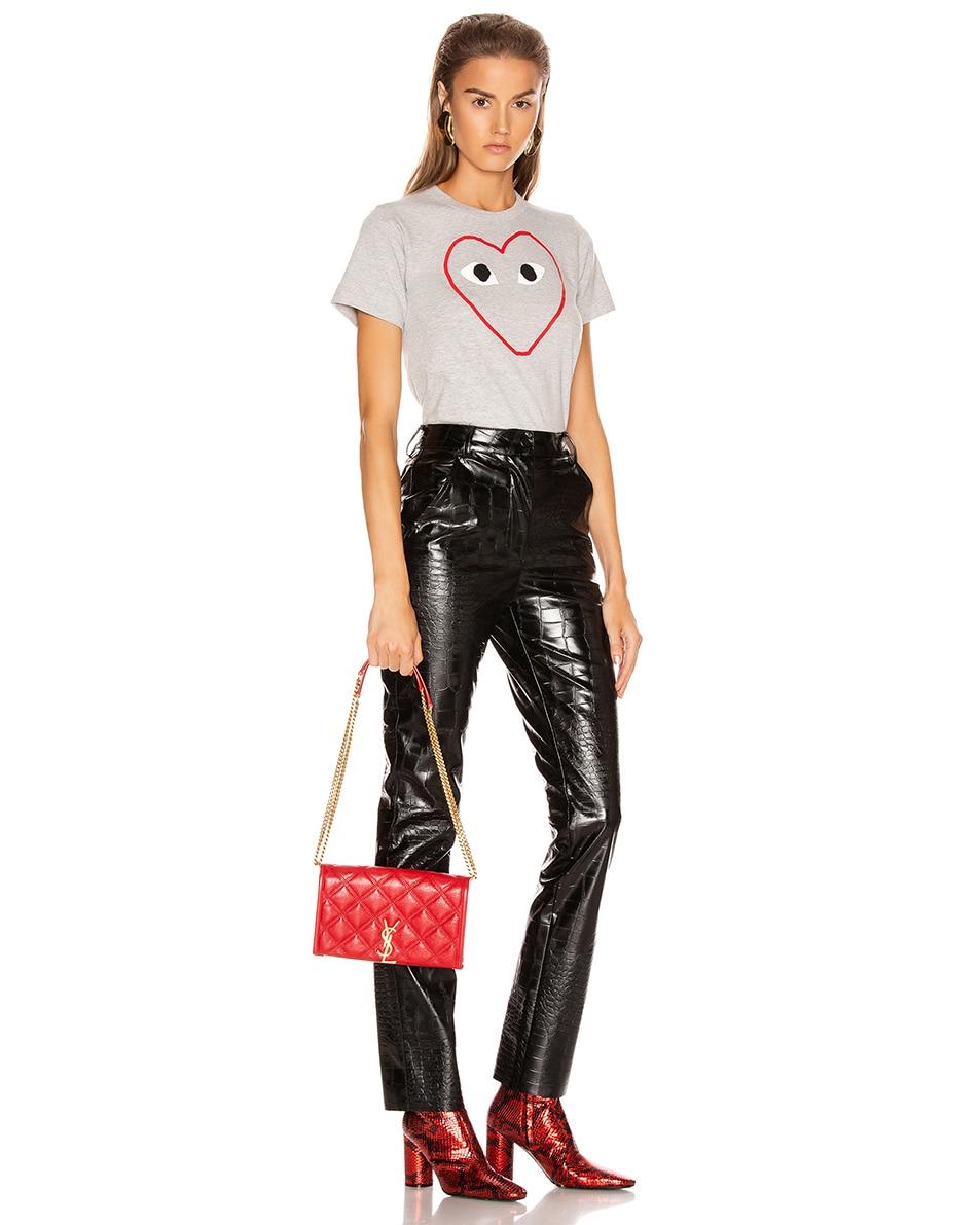 Image 2 of Saint Laurent Chain Wallet Bag in Rouge Eros