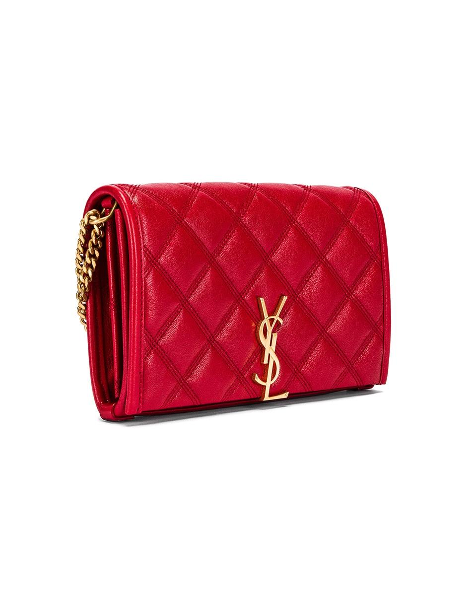 Image 4 of Saint Laurent Chain Wallet Bag in Rouge Eros