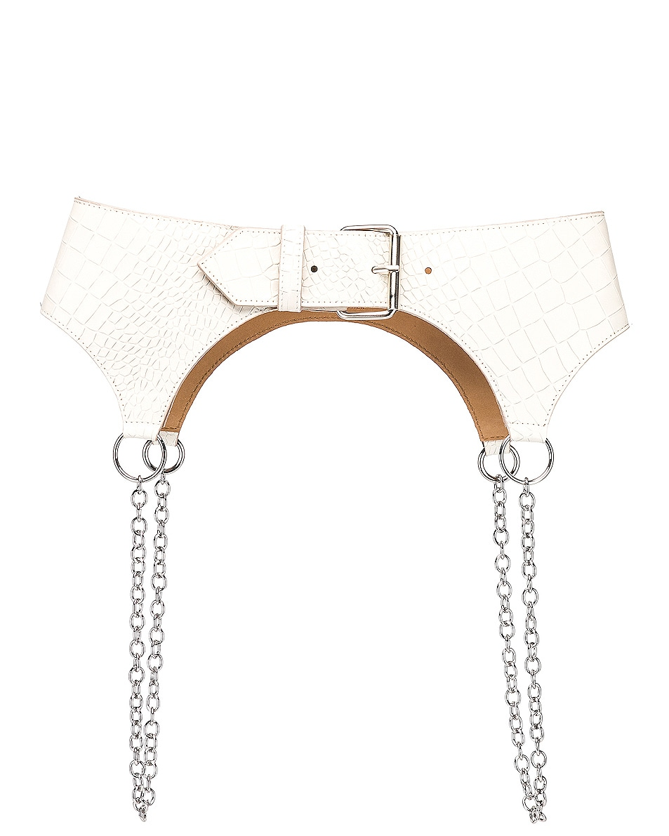 Image 1 of Sandy Liang Corbin Belt in Cream Croc