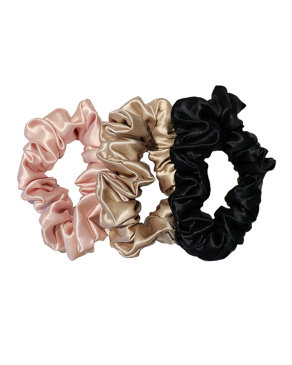 Image 1 of slip Classic Large Scrunchie 3 Pack in Black, Pink & Caramel