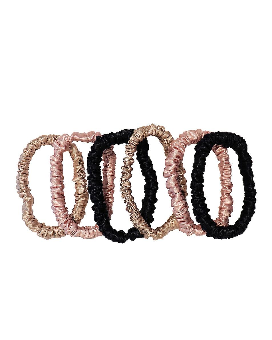 Image 1 of slip Skinnie Scrunchie 6 Pack in Black, Pink & Caramel