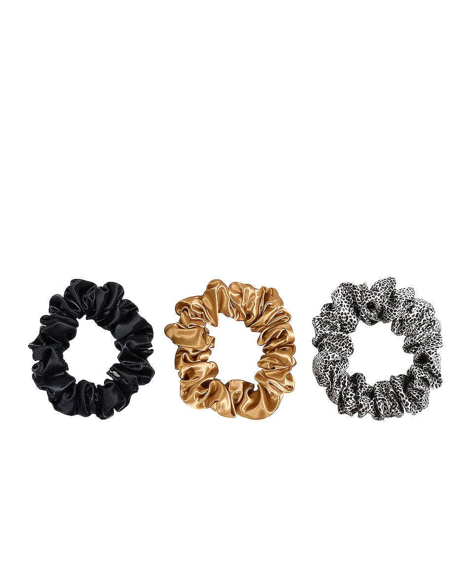 Image 1 of slip Classic Large Scrunchie 3 Pack in Gold, Leopard & Black