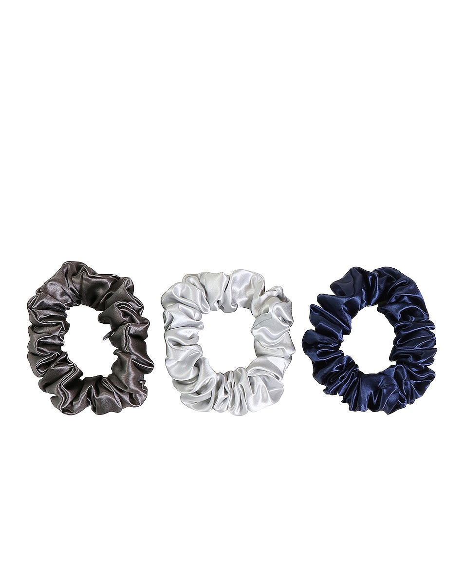 Image 1 of slip Classic Large Scrunchie 3 Pack in Navy, Silver & Charcoal