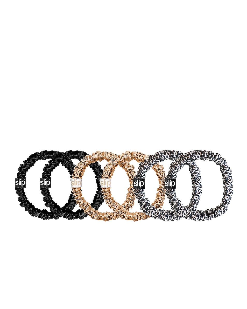 Image 1 of slip Skinnie Scrunchie 6 Pack in Gold, Leopard & Black