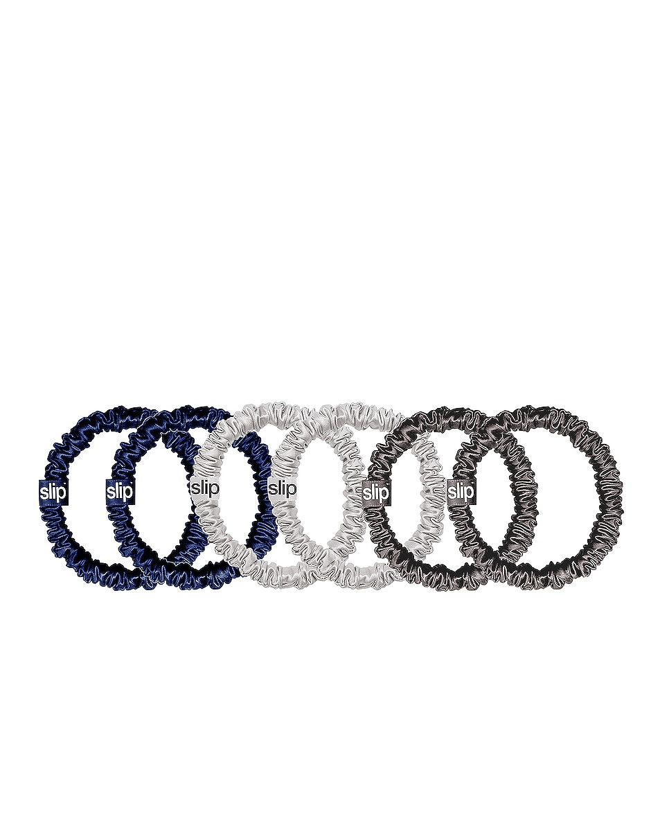 Image 1 of slip Skinnie Scrunchie 6 Pack in Navy, Silver & Charcoal
