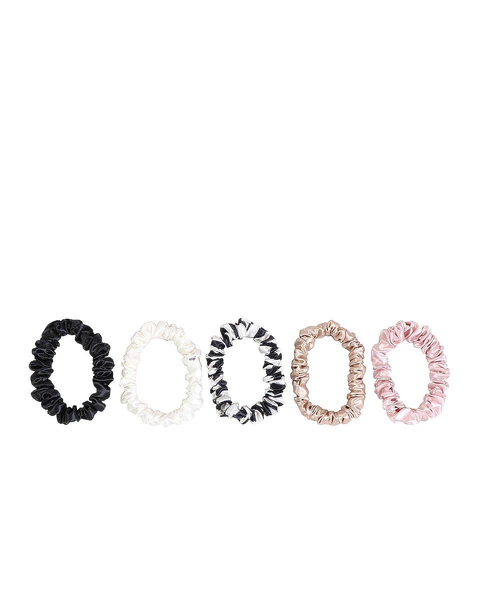 Image 1 of slip Midi Scrunchie 5 Pack in Black, Caramel, White, Pink & Navy Stripe