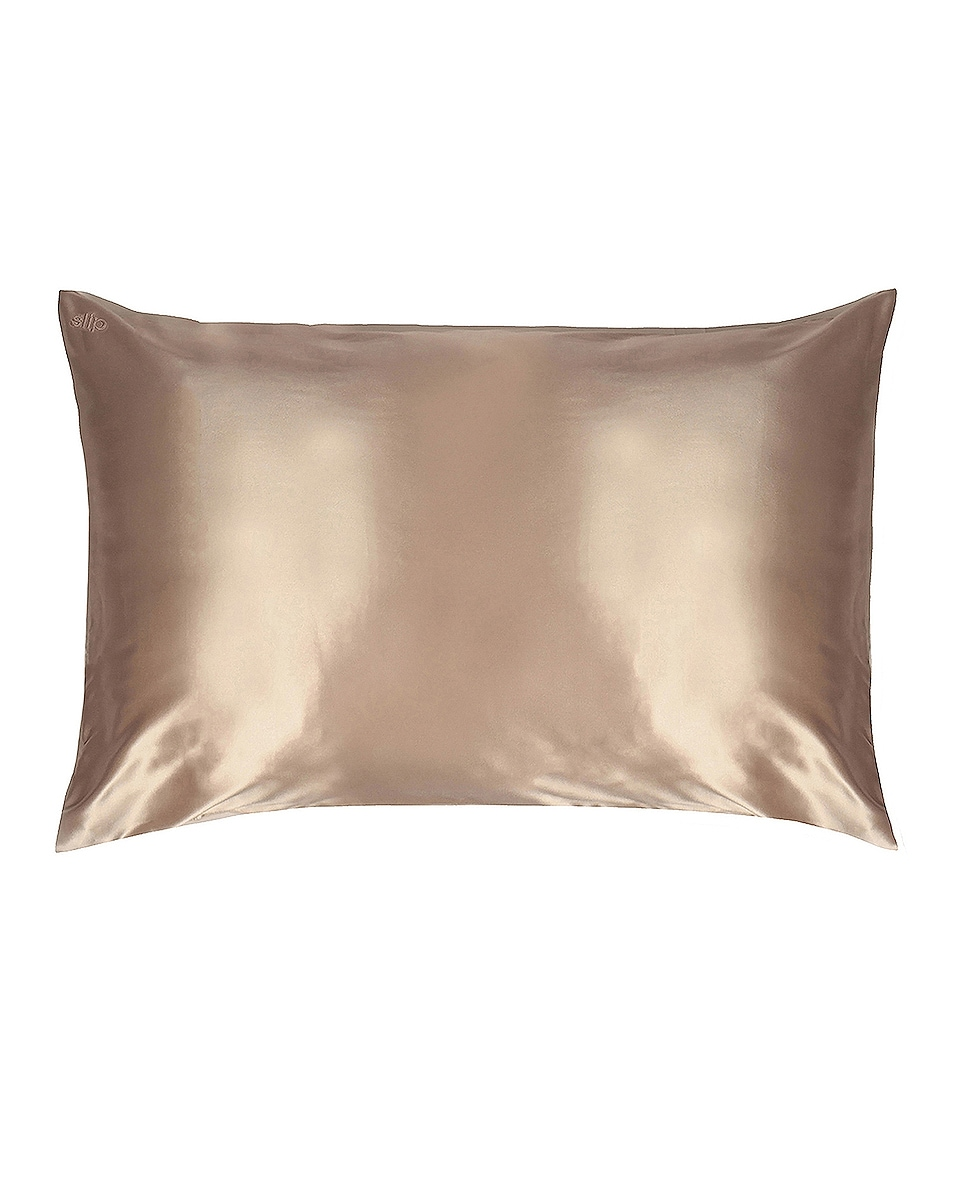 Image 1 of slip Queen/Standard Pure Silk Pillowcase in Caramel