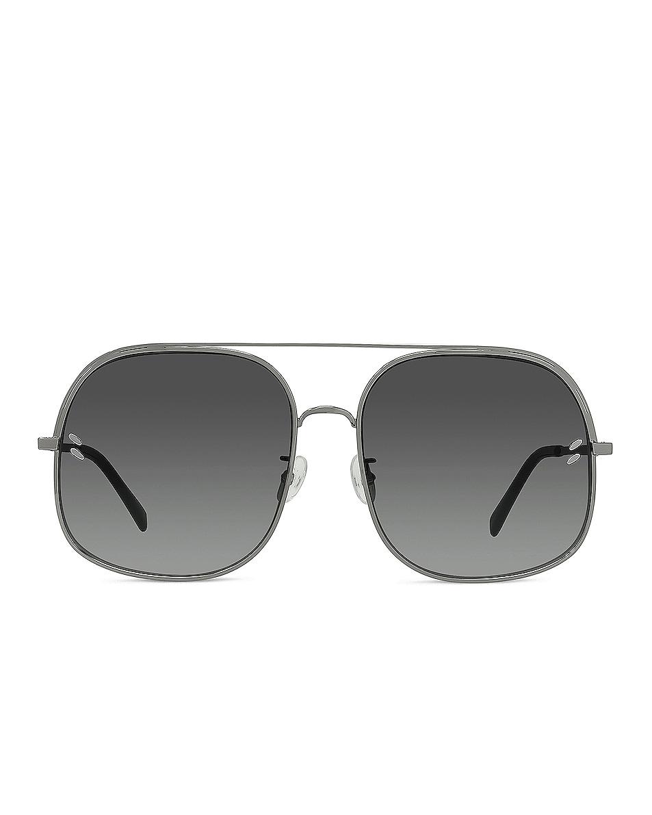 Image 1 of Stella McCartney Metal Shield Sunglasses in Shiny Light Ruthenium