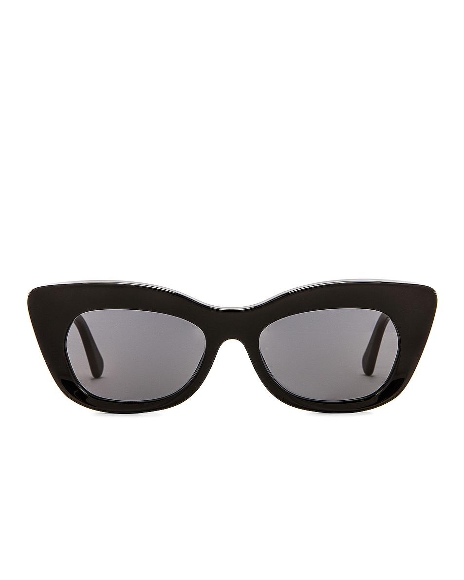 Image 1 of Stella McCartney Cat Eye Sunglasses in Shiny Black & Smoke