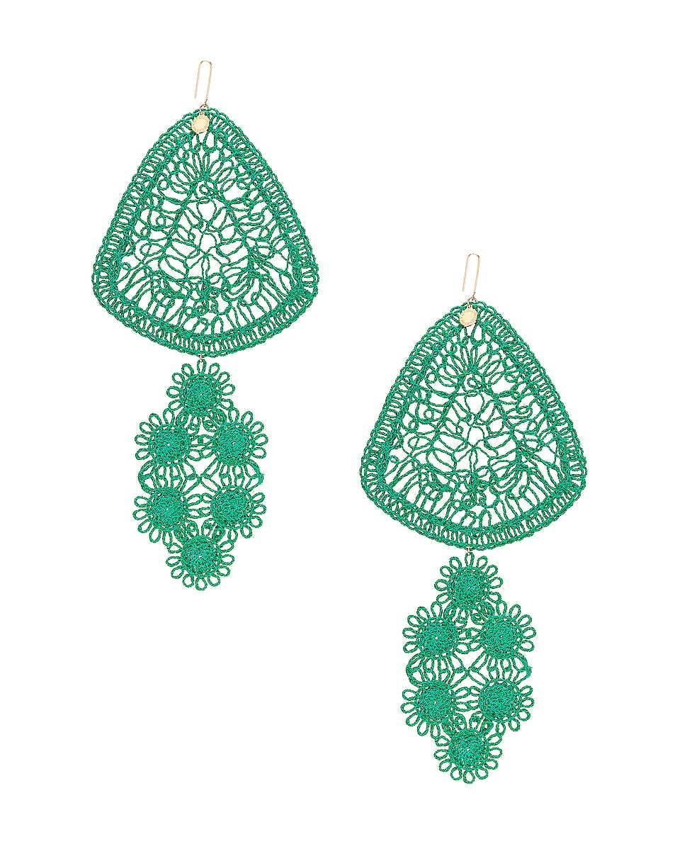 Image 1 of Stella McCartney Intricate Earrings in Bright Green