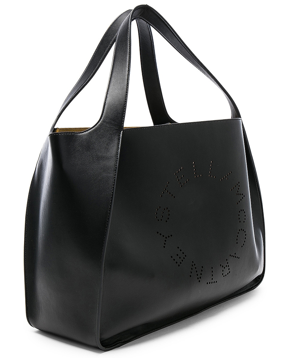 Image 4 of Stella McCartney Perforated Logo Tote in Black