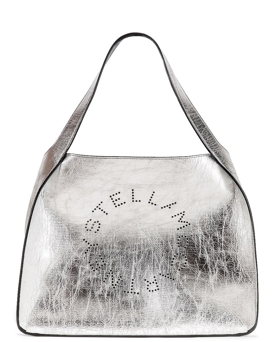 Image 1 of Stella McCartney Logo Metallic Tote in Silver