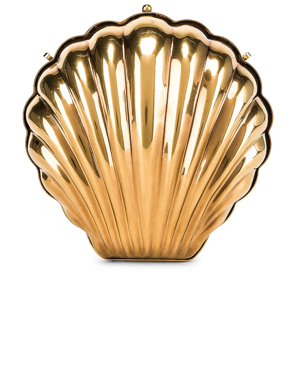 Image 1 of Stella McCartney Metal Brass Shell Clutch in Vintage Gold