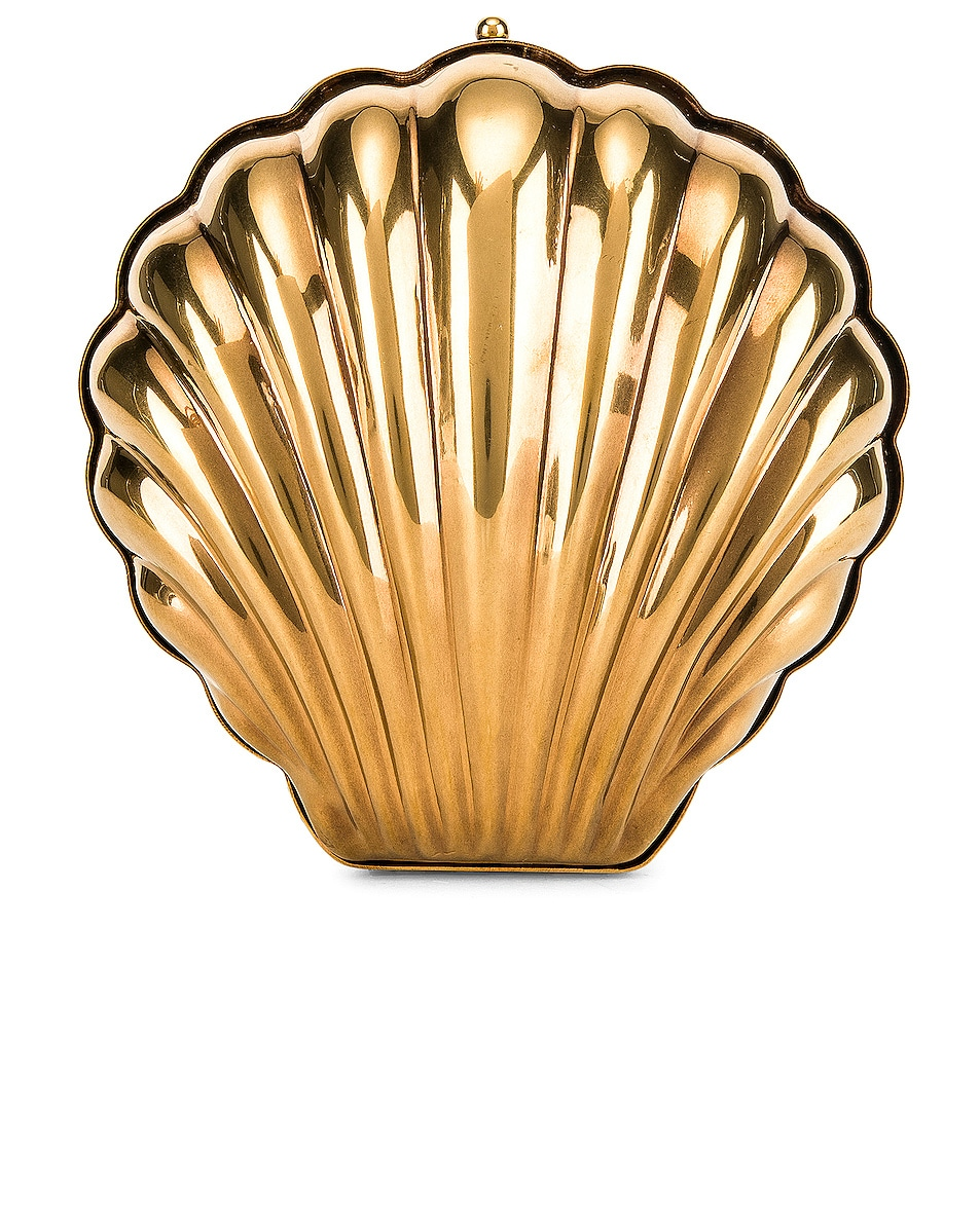 Image 3 of Stella McCartney Metal Brass Shell Clutch in Vintage Gold