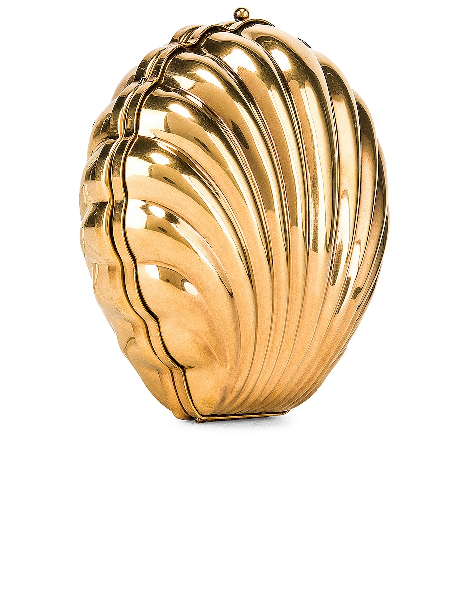 Image 4 of Stella McCartney Metal Brass Shell Clutch in Vintage Gold
