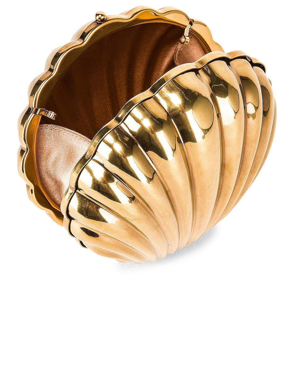 Image 5 of Stella McCartney Metal Brass Shell Clutch in Vintage Gold
