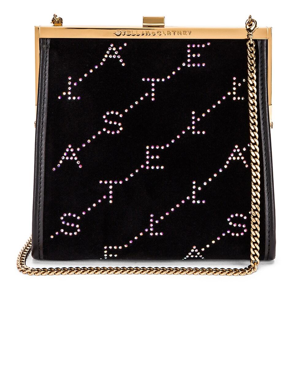 Image 1 of Stella McCartney Mini Frame Monogram Velvet Crystal Bag in Black
