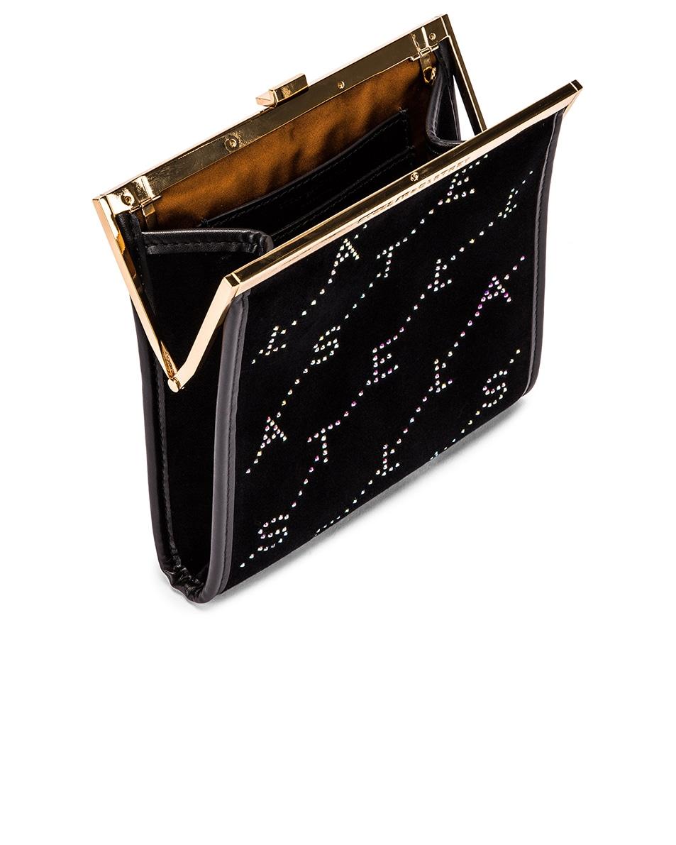 Image 5 of Stella McCartney Mini Frame Monogram Velvet Crystal Bag in Black